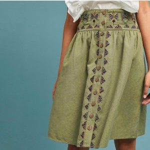 Anthro Maeve Green Embroidered Utility Skirt